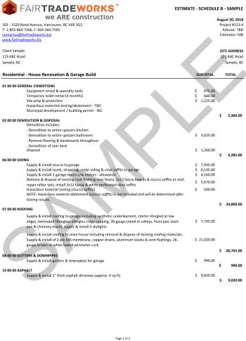 FairTradeWorks Estimate - Residential Sample-1
